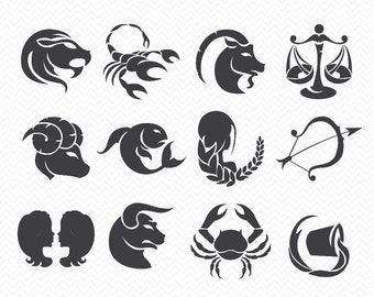 Horoscope signs Silhouette- SVG files for Cricut or Cameo- Instant Download- pdf, eps, svg, png, ai- Pisces, cancer, aquarius, taurus, libra