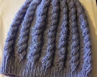 Hand knitted, Beanie hat, slouchy beanie, blue/heather color, beanie cap 18- 24 month, boy gift, girl gift, baby gift, Children wear.