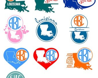 Louisiana SVG State Monogram, Louisiana Cut File, Monogram state vector, Home, Eps, Svg, Cdr, Dxf, Dwg, Jpg, Png clipart files