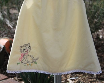 Handmade, Hand Embroidered Kitten Dress. Includes FREE shipping!