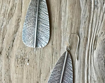 Feather Earrings in oxidized sterling silver