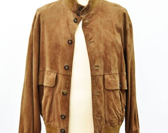 Leather vintage jacket bomber suede 70s size 48 man man real leather