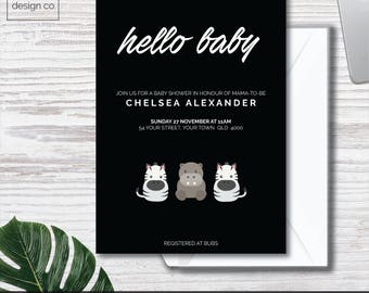 Instant Digital Download - Modern Zoo Theme - Baby Shower Invitations - Printable - Simple