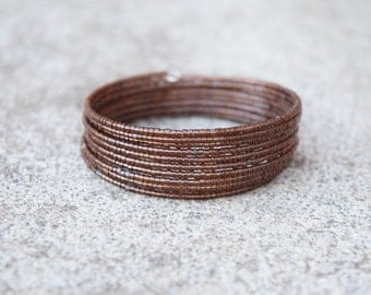 Chocolate Brown Wrap Around Memory Wire Multi Stack Seed Bead Bracelet