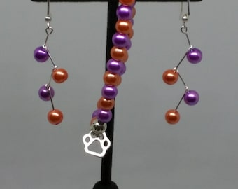 Orange and Purple Clemson zig zag glass pear earrings with stretchy bracelet with paw charm set.  FREE SHIPPING