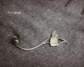 Nickel silver brooch Brooch pin Labradorite gemstone Brooch fox Brooch for sweater Scarf pin Nature brooch Wild animals Shawl pin Wild fox