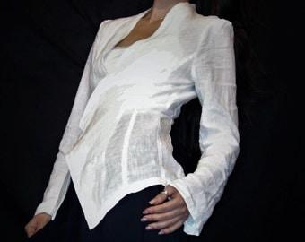 White Linen Jacket, Handmade Jacket, Natural Fabric, Woman Fashion, Casual Clothing, Sustainable fashion, Elegant Jacket