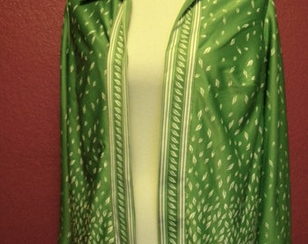 Vintage Silken Green Leaf-Detail Jacket