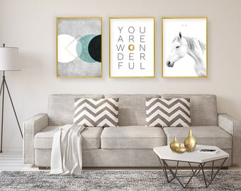 Set of 3 giclee prints, Modern wall art, Giclee print Set, Gold typographic giclee, Minimalist print, You are wonderful print, Horse print