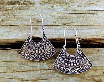 Earrings-style ethnic, German silver. Tribal earrings. Ethnic style. Gypsy earrings. Earring silver color. Tribal jewelry