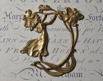 Large French Art Nouveau Style Goddess Brass Die Casting Picture Frame Portrait Setting 319J