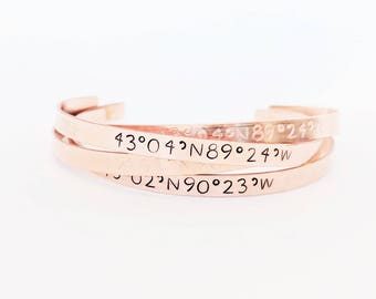 Personalized Coordinates Bracelet // Custom Location Bracelet + GPS Coordinates + Friendship Bracelet + Mantra + Copper + Gifts for her