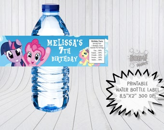 My Little Pony water bottle labels, My little pony birthday labels, Little pony water bottle wraps, Little pony labels, Little pony party