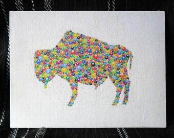 Watercolour Illustration Bison Portrait Bubbles Canvas Board White Light Particles Vibration