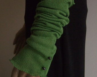 Long fingerless gloves-sleeves fancy 40 cm in beautiful spring green yarn so soft!