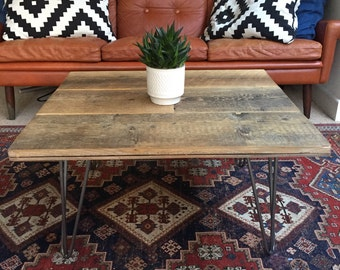 Reclaimed Oak Coffee Table With Hairpin Legs