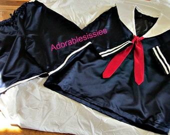 Sissy ABDL  Sailor boy or girl outfit  for the ABDL Sissy Baby  Great satin outfit to be a Sailor Adult Baby Sissy, Sissy Baby Sailor