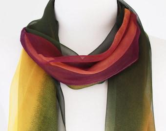 Soft Elegant Long Wrap Scarves / Gradient / Yellow / Purple / Green / Spring Summer Scarf / Women Scarves / Accessories / Handmade
