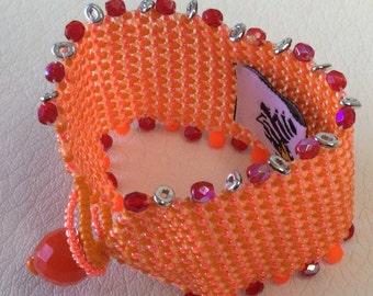 Orange bracelet woven in rocailles Miyuki 11/0