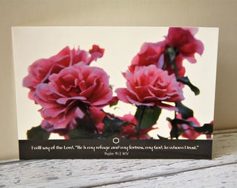 Bible Verse Postcard Set x5, pink roses, Psalm 91:2, Scripture Encouragement Card, Christian art print, Bible verse art print, birthday card