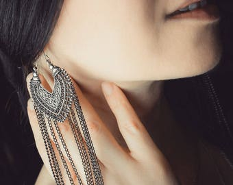 Tribal Gypsy Boho Earrings with Long Chains
