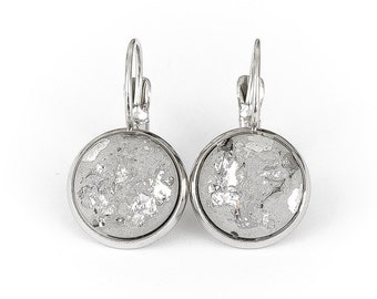 Earrings silver concrete