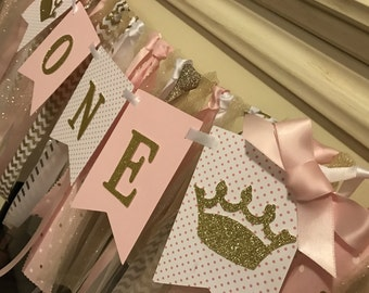 Pink and Gold 1st Birthday- Pink and Gold Princess 1st  Birthday- Gold glitter Banner - Pink and Gold Glitter