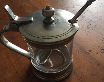 Vintage Glass Jam Jar w/Pewter Cover & Spoon