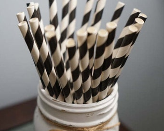 Black and White Paper Straws, Striped Paper Straws, Party Straws