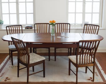 Extending Teak Dining Table With Six Chairs