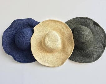 Colored Floppy Beach Hat / Straw Sun Hat / Straw Beach Hat