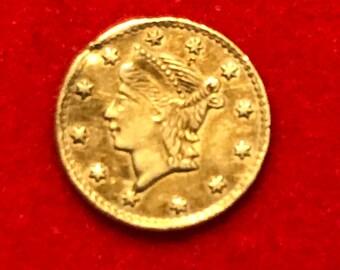 1853 BG-223 California Gold 1/4 Token Fractional