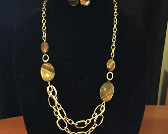 """30"""" long Tiger-eye necklace with dangle earrings"""