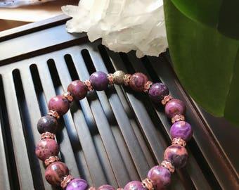 10mm Purple Crazy Lace Agate Yoga Mala Beaded Bracelet. Healing Natural Gemstone Bracelet. Protection Mala. Meditation Bracelet. Wrist Mala.