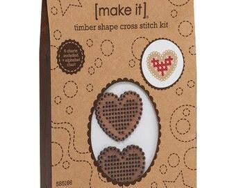 Love hearts, love heart cross stitch, Cross stitch timber kit, Timber Shape Cross Stitch Kit, cross stitch kit - Heart