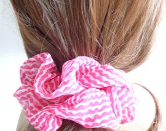 Pink and white chiffon scrunchie, chouchou, pink  hair elastic, hair accessories, handmade by ScrunchiesCo