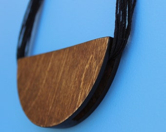 Half Moon Wood Statement Necklace Kit - Chunky - Modern Jewelry - Contemporary - Natural - Hemp