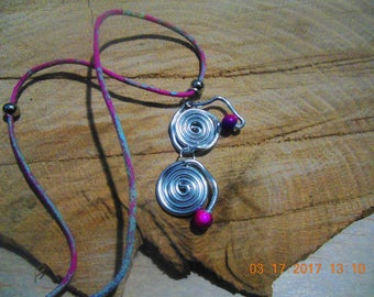 Free-Form Pendant Necklace Of 2 Silver Colored Circles With 2 Pink and Blue Beads On Pink and Blue Cord with Silver Findings