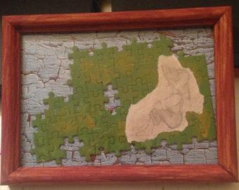 5x7 Handmade Framed collage - Girl in Bonnet