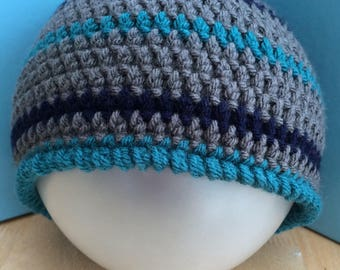 Boys beanie Hat,  6-10 Years boys hat, Boys Crochet Beanie Hat, boys hat, vegan boys hat, vegan friendly hat, grey hat, boys grey beanie