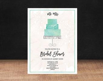 Bridal Shower Invitation, WEDDING CAKE Bridal Shower Invitation, Shower Invite,Bride To Be, Stationary, Bridal Shower