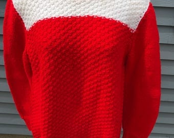 Hand Knit Sweater, Vintage Size Small, Red White