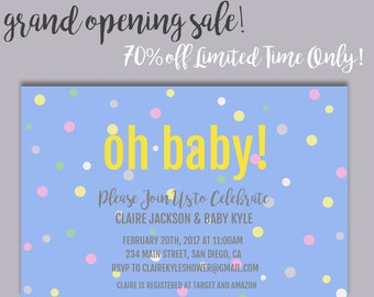 Baby Shower Invitation - Printable Baby Shower Invite - DIY - Printable Invite - Oh Baby - Dots - Confetti