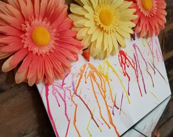 Melted crayon flowers | Crayon Art | Flowers | Orange and Pink Flowers | Melted Crayons | Canvas Crayons