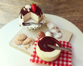 Chocolate Cheesecake-Preparation Board, 1:12 scale miniatures, Dollhouse Miniature, Polymer Clay Food