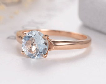 Rose Gold Engagement Ring Aquamarine Wedding Simple Minimalist Bridal Set Solitaire March Birthstone Ring Anniversary Gift for her Women