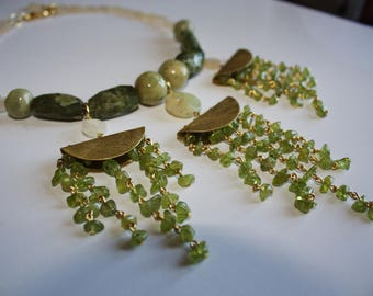 Necklace from quartz, prehnite, chrysolite, onyx and brass // One Of A Kind Handmade Jewelry Beads Green With Gold Quality