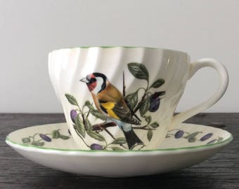 Vintage Signed Bird Tea Cup &  Saucer / Staffordshire / Fine Bone China / England / Norman Arlott / Plums