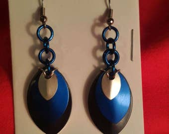 Black/Blue/Silver 3 Graduated Scale Earrings