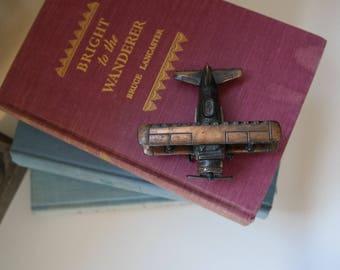 Bi-Plane Die Cast Pencil Sharpener, Collectible, Antique, Vintage, Travel, Transportation, Gifts for Him, Adventure, Gold, Copper, Office